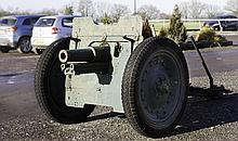 A WWII SOVIET SHORT BARRELLED 75 MM HOWITZER^ the
