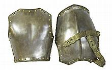 A 19TH CENTURY EUROPEAN BREAST PLATE^ with brass s