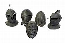 A GROUP OF FIVE ASSORTED HELMETS^ closed face exam