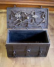 A 17TH CENTURY IRON ARMADA CHEST with elaborate lo