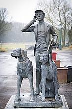 A BRONZE CONTEMPORARY SCULPTURE OF A HUNTSMAN WITH