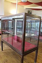 A 20TH CENTURY OAK GLAZED RECTANGULAR MUSEUM DISPL