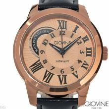 Brand Name: GIOVINE New Gentlemens Watch.  It has a quartz movement and a black leather Band.  The Rose Case is Incredible!