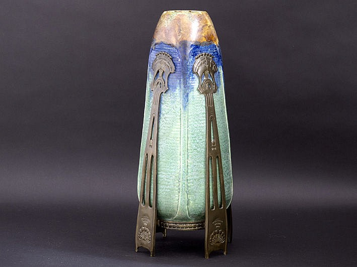 Fraaie Jugendstil-vaas in grès met een zeer mooie