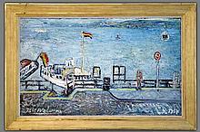 WOLVENS HENRI VICTOR (PS. VOOR WOLVENSPRENGENS H.V.) (1896 - 1977) belangrijk olieverfschilderij op doek met een aantrekkelijk thema getiteld :