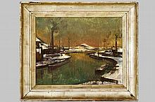 PIERRE PAULUS - DE CHÂTELET (BARON)  (1881 - 1959) olieverfschilderij op doek met een besneeuwd zicht van een industriegebied getiteld op de achterkant :