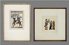 TYTGAT EDGARD (1879 - 1957) twee (§) houtsnedes met typische figuratie  -  155 x 11 en 11 x 105 één is getekend