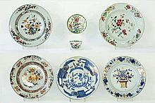 Lot (7) achttiende-eeuws Chinees porselein met polychroom decor