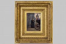 CHEVILLIARD VINCENT JEAN-BAPTISTE (1841 - 1904) olieverfschilderij op paneel met een romantisch them