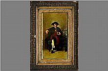 MADOU JEAN-BAPTISTE (1796 - 1877) negentiende eeuws olieverfschilderij op paneel : 'Pijprokende man'