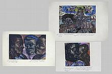 VERDEGEM JOS (1897 - 1957) lot van drie ingekleurde etsen : * n° 20/25 : 'Odalisque' - getekend en g