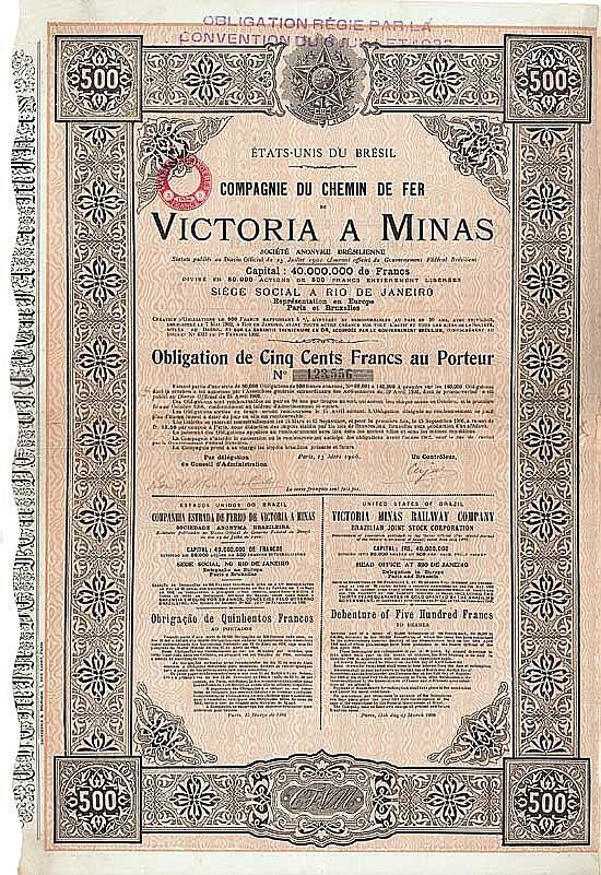 Cie. du Chemin de Fer Victoria a Minas S.A. (Victoria Minas Railway Co.)