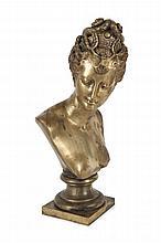 Jean GOUJON  (1510-1566) d'après  Diane de Poitiers.  Bronze à patine dorée.  Marqué Gautier Fils Bronzier Paris.  H. : 47 cm.