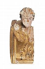Anonyme  Tête de chérubin.  Elément de décor d'autel en bois sculpté  et polychrome.  France, deuxième moitié du XVIIème siècle.  H. : 36 cm.