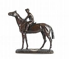 Léon BUREAU  (1866-1906)  La jument ténébreuse.  Bronze à patine médaille.  Signé et marqué dans un fer à cheval en  demi-relief sur la terrasse.  H. : 44 cm. L. : 48 cm.