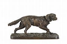 Pierre-Jules MENE  (1810-1879)  Chien épagneul français (Fabio) n°1.  Bronze à patine brune.  Signé.  H. : 7,5 cm. L. : 14,5 cm. P. : 5,5 cm.