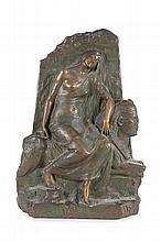 Henri Louis LEVASSEUR  (1853-1934)  Légende des Ruines.  Bronze polychrome.  Signé et titré.  H. : 40 cm. L. : 27 cm. P. : 13 cm.