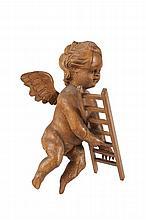 Anonyme  Ange tenant un des instruments de la Passion.  Elément de retable en bois sculpté.  Allemagne du Sud ou Autriche, XVIIIème siècle.  H. : 42 cm.