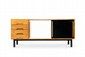 CHARLOTTE PERRIAND (1903-1999) Bahut. Placage d'acajou, mélaminé et métal. 72.5 x 158 x 45 cm. Steph Simon, 1958. Bibliographie : - Cité pétrolière Cansado, Mauritanie, Afrique.