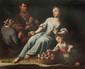 Ecole napolitaine du XVIIIème siècle Musiciens près d'une femme. Toile. 130 x 157 cm.