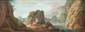 Hubert ROBERT (Paris 1733 - 1808) Obélisque avec des personnages autour d'un brasero. Paysage de rivière animé. Paire de toiles. 51 x 133 cm. Provenance : - Vente anonyme, Londres, Sotheby's, 8 décembre 1976, n°44 (suite de quatre toiles). - Galerie