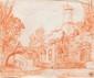 Charles PARROCEL (1688-1752) Attribué à Paysage. Sanguine. Cachet de collection. 18 x 22,5 cm.