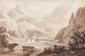 Jean-Jacques CHAMPIN (1796-1860) La ville de Tende dans le Piémont. Lavis d'encre. Signé en bas au centre. Titré en haut à gauche. 25 x 37 cm.