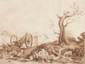 Ecole française du XVIIIème siècle Famille de bergers se reposant près d'une charrette. Plume et encre brune, lavis brun. 44,5 x 55,5 cm.