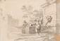 Ecole vénitienne du XVIIIème siècle Femmes à la fontaine. Lavis d'encre. 19 x 26,5 cm.