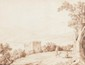 Jacob Philipp HACKERT (Prenzlau 1737- San Piero di Careggio 1807) Deux promeneurs se reposant sous un arbre près d'un lac de montagne. Plume et encre brune, lavis brun. Signé, situé et daté en bas au centre Ph. Hackert a Palinuro 1777. 34 x 45,5 cm.