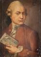 Ecole française du XVIIIème siècle Portrait de Jean-Jacques Rousseau. Huile sur toile. Titrée en haut à droite. 50 x 40 cm.