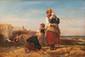 Camille ROQUEPLAN (1800/03-1855) Pêcheurs à marée basse. Huile sur toile. Signée en bas à gauche. 27 x 38 cm