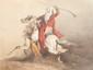 Theodore FORT (1810-1896) La fantasia. Aquarelle. Signée en bas à gauche. 30 x 40 cm.