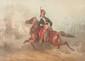 Theodore FORT (1810-1896) Hussard. Aquarelle. Signée en bas à gauche. 30 x 40 cm.
