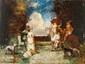 Adolphe MONTICELLI (1824-1886) Conversation dans le parc. Huile sur panneau. Signée en bas à gauche. 36,5 x 48 cm.