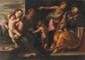 Maffeo VERONA (1576-1618) Attribué à La sainte Famille avec sainte Elisabeth et saint Jean Baptiste. Toile. 85 x 120 cm.