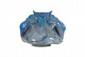 Cytère (Rambervillers)  Vase à décor de poissons stylisés en céramique  irisée dans les tons de bleu. Modèle de Jeandelle.  Signé. H. : 14 cm.
