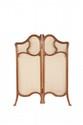 ANONYME  Paravent d'angle en bois sculpté  Art Nouveau et garniture en tissu.  H. : 86 cm. L. : 66 cm.