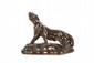 Jean-Baptiste Gaziello  (1871-1957)  Lionne en ronde-bosse en céramique noire  irisée. Signée. H. : 28 cm. L. : 40 cm.