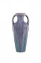 Jean Massier  Vase amphore en céramique  violette à coulées vertes. Signé.  H. : 36 cm.