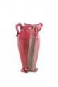 Delphin Massier (1836-1907)  attribué à  Vase de forme naturaliste Art Nouveau en  céramique rose à nuances bleues.  H. : 34 cm.