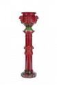 Clément Massier (1845-1917)  Cache-pot sur colonne (complet) en céramique  rouge nuancée de vert à décor néo-classique modèle  « Guirlandes ». Signé. H. : 127 cm.  Bibliographie :  Modèle similaire répertorié page 128 dans Massier,  Éd. RMN 2000.