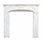 TRAVAIL ART NOUVEAU  Paire de cheminées en marbre d'époque  Art Nouveau à décor sur le fronton et les  côtés de motifs naturalistes stylisés et  entremêlés.  H. : 116 cm. L. : 131 cm. P. : 40 cm.