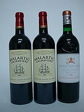 3 bouteilles   2 CHÂTEAU MALARTIC LAGRAVIERE Rouge 2005 CC Graves   1 CHÂTEAU PAPE CLEMENT Rouge 1986 CC Graves (e.l.s.)