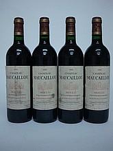 4 bouteilles   CHÂTEAU MAUCAILLOU 1995 Moulis (e.t.h; 1 c.l.a.)