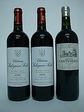 3 bouteilles   2 CHÂTEAU LABEGORCE ZEDE 2006 Margaux   1 CHÂTEAU CANTEMERLE 2008 GCC5 Haut Médoc (e.l.s.)