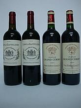 4 bouteilles   2 CLOS LA GAFFELIERE 2006 GC St Emilion   2 CHÂTEAU GRAND CORBIN 2005 GC St Emilion (1 e.t.h. légère; 1 e.l.a.)