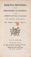 MABLY (Gabriel BONNOT Abbé de). - Doutes proposés aux philosophes économistes sur l'ordre naturel et essentiel des sociétés politiques.
