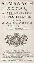 [ALMANACH] - Almanach Royal, Année bissextile 1788, présenté à sa Majesté pour sa première fois en 1699 par Laurent d'Houry, Mis en forme et publié par Debure, Gendre de feu M. D'Houry. Paris, Imprimerie de la Veuve d'Houry & Debure. In-8, 716pp.