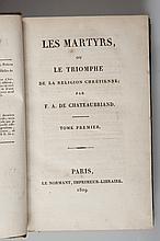 CHATEAUBRIAND (François-Alphonse de) - Les martyrs.   Paris, Le Normant, Imprimeur-Libraire, 1809. 2 volumes in-8, xxvi-414p-403p-10p. Reliure demi-basane, dos lisse. Edition Originale. Bon état.